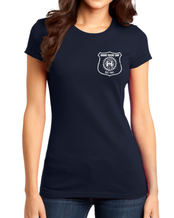 Harand Theatre Camp - Left Chest White Shield Logo Girly Navy Stock Model Front 1 Thumb