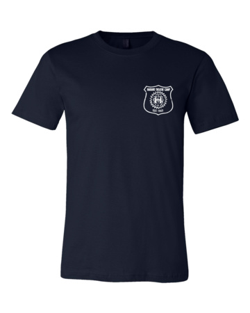 Harand Theatre Camp - Left Chest White Shield Logo Standard Navy Blank with Depth