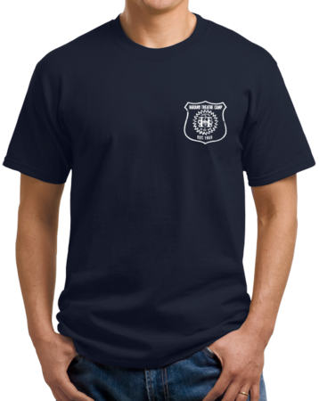 Harand Theatre Camp - Left Chest White Shield Logo Unisex Navy Stock Model Front 1 Thumb