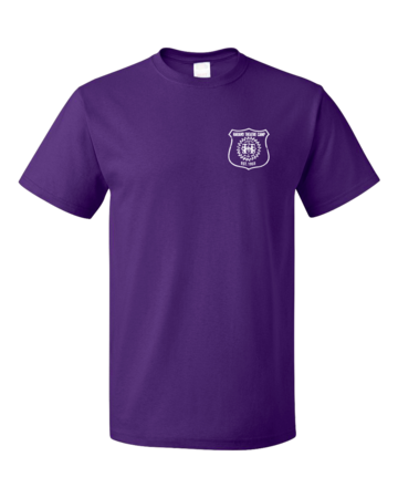 Harand Theatre Camp - Left Chest White Shield Logo Unisex Purple Blank with Depth