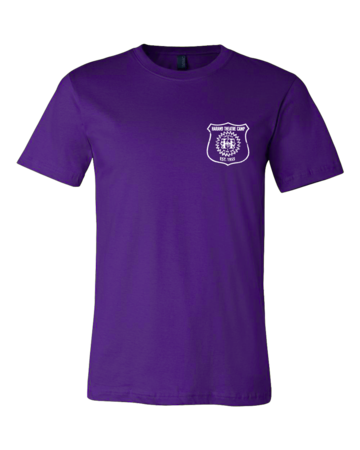 Harand Theatre Camp - Left Chest White Shield Logo Standard Purple Blank with Depth