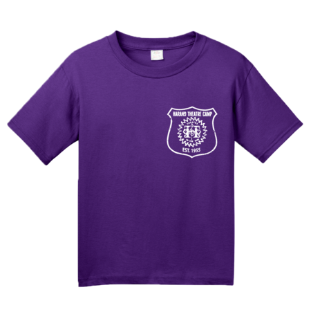 Harand Theatre Camp - Left Chest White Shield Logo Youth Purple Blank with Depth