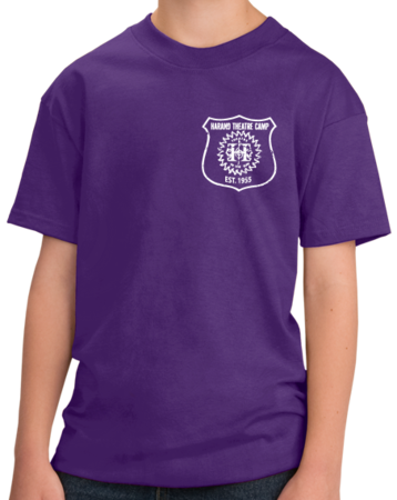 Harand Theatre Camp - Left Chest White Shield Logo Youth Purple Stock Model Front 1 Thumb