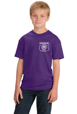 Harand Theatre Camp - Left Chest White Shield Logo Youth Purple Stock Model Front 1