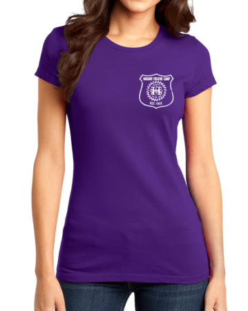 Harand Theatre Camp - Left Chest White Shield Logo Girly Purple Stock Model Front 1 Thumb
