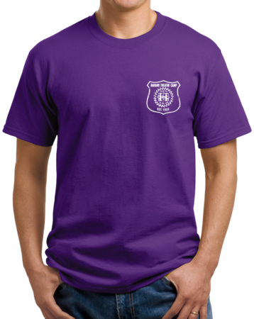 Harand Theatre Camp - Left Chest White Shield Logo Unisex Purple Stock Model Front 1 Thumb