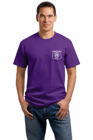 Harand Theatre Camp - Left Chest White Shield Logo Unisex Purple Stock Model Front 1