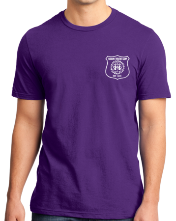 Harand Theatre Camp - Left Chest White Shield Logo Standard Purple Stock Model Front 1 Thumb