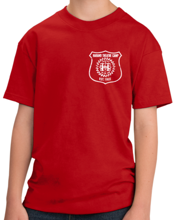 Harand Theatre Camp - Left Chest White Shield Logo Youth Red Stock Model Front 1 Thumb