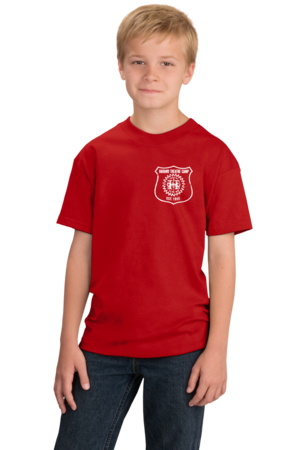 Harand Theatre Camp - Left Chest White Shield Logo Youth Red Stock Model Front 1