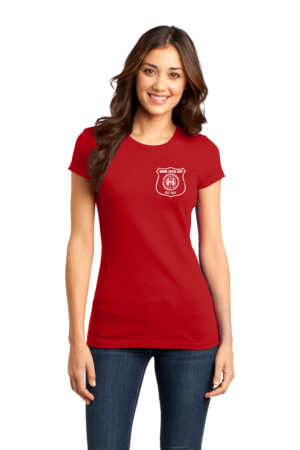 Harand Theatre Camp - Left Chest White Shield Logo Girly Red Stock Model Front 1