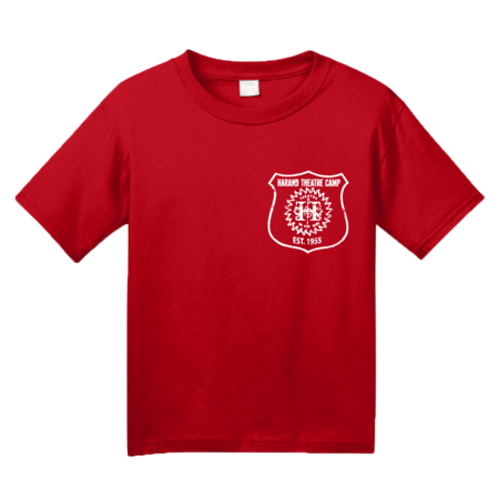 Harand Theatre Camp - Left Chest White Shield Logo Youth Red Blank with Depth