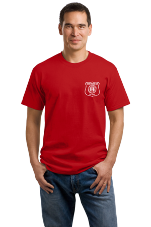 Harand Theatre Camp - Left Chest White Shield Logo Unisex Red Stock Model Front 1