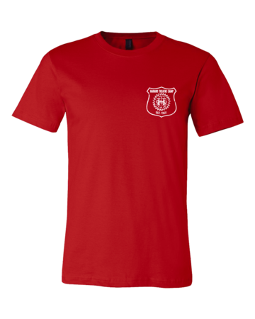 Harand Theatre Camp - Left Chest White Shield Logo Standard Red Blank with Depth