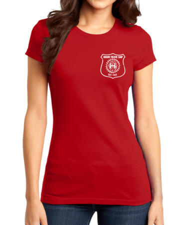 Harand Theatre Camp - Left Chest White Shield Logo Girly Red Stock Model Front 1 Thumb