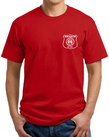 Harand Theatre Camp - Left Chest White Shield Logo Unisex Red Stock Model Front 1 Thumb