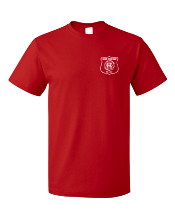 Harand Theatre Camp - Left Chest White Shield Logo Unisex Red Blank with Depth