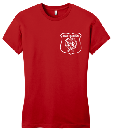 Harand Theatre Camp - Left Chest White Shield Logo Girly Red Blank with Depth
