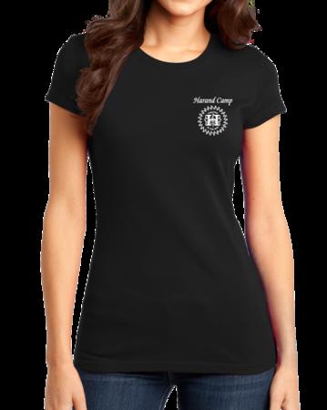 Harand Theatre Camp - Sun Logo Left Chest White Print Girly Black Stock Model Front 1 Thumb