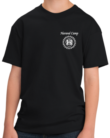 Harand Theatre Camp - Sun Logo Left Chest White Print Youth Black Stock Model Front 1 Thumb