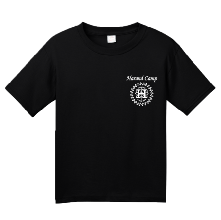 Harand Theatre Camp - Sun Logo Left Chest White Print Youth Black Blank with Depth