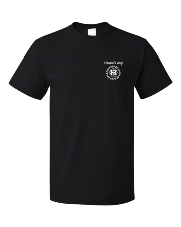 Harand Theatre Camp - Sun Logo Left Chest White Print Unisex Black Blank with Depth