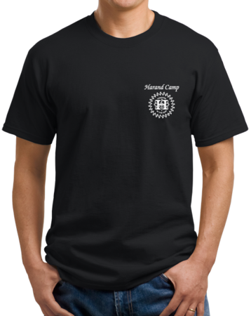 Harand Theatre Camp - Sun Logo Left Chest White Print Unisex Black Stock Model Front 1 Thumb