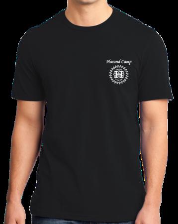 Harand Theatre Camp - Sun Logo Left Chest White Print Standard Black Stock Model Front 1 Thumb