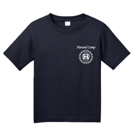 Harand Theatre Camp - Sun Logo Left Chest White Print Youth Navy Blank with Depth