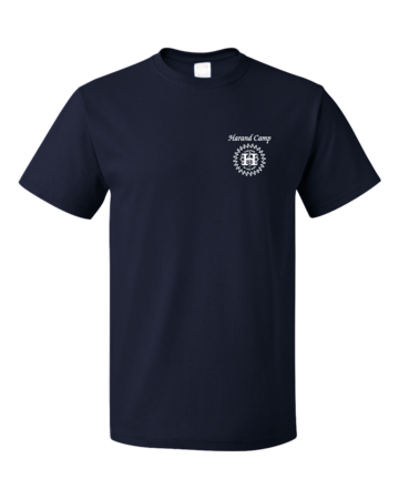Harand Theatre Camp - Sun Logo Left Chest White Print Unisex Navy Blank with Depth