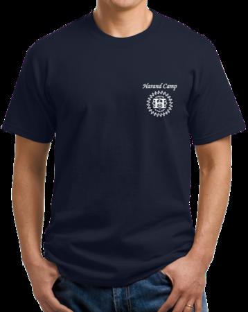 Harand Theatre Camp - Sun Logo Left Chest White Print Unisex Navy Stock Model Front 1 Thumb