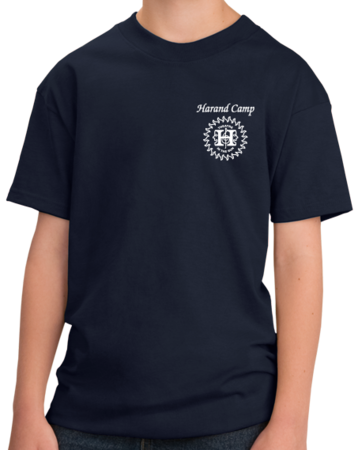 Harand Theatre Camp - Sun Logo Left Chest White Print Youth Navy Stock Model Front 1 Thumb