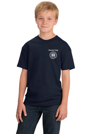 Harand Theatre Camp - Sun Logo Left Chest White Print Youth Navy Stock Model Front 1