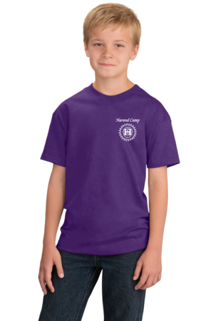Harand Theatre Camp - Sun Logo Left Chest White Print Youth Purple Stock Model Front 1