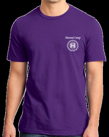Harand Theatre Camp - Sun Logo Left Chest White Print Standard Purple Stock Model Front 1 Thumb