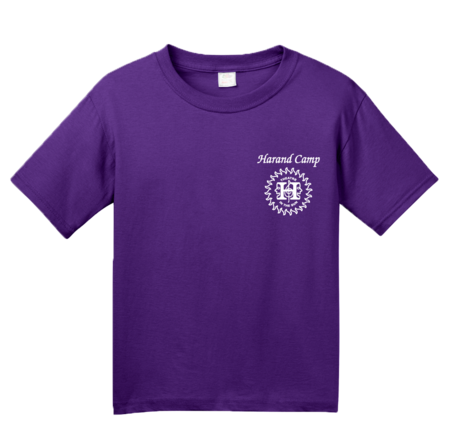 Harand Theatre Camp - Sun Logo Left Chest White Print Youth Purple Blank with Depth