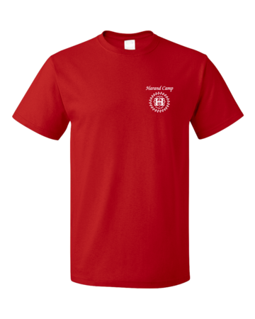 Harand Theatre Camp - Sun Logo Left Chest White Print Unisex Red Blank with Depth