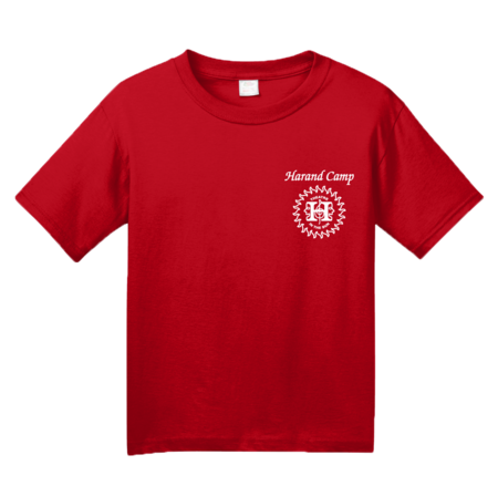 Harand Theatre Camp - Sun Logo Left Chest White Print Youth Red Blank with Depth