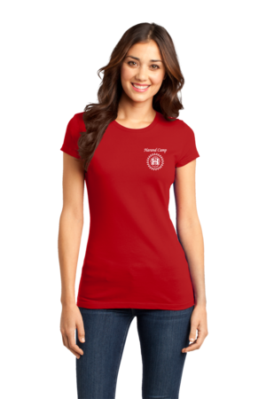 Harand Theatre Camp - Sun Logo Left Chest White Print Girly Red Stock Model Front 1