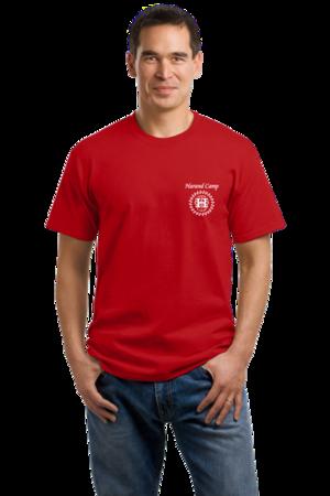 Harand Theatre Camp - Sun Logo Left Chest White Print Unisex Red Stock Model Front 1