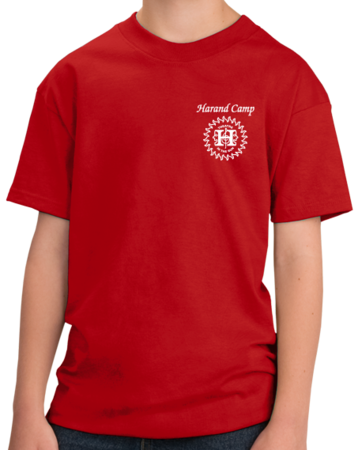 Harand Theatre Camp - Sun Logo Left Chest White Print Youth Red Stock Model Front 1 Thumb