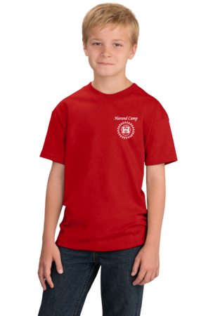 Harand Theatre Camp - Sun Logo Left Chest White Print Youth Red Stock Model Front 1