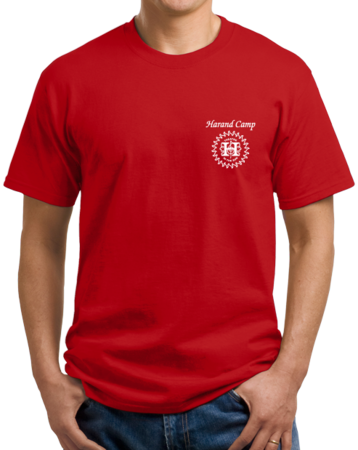 Harand Theatre Camp - Sun Logo Left Chest White Print Unisex Red Stock Model Front 1 Thumb