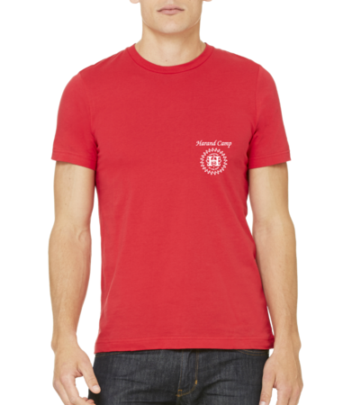 Harand Theatre Camp - Sun Logo Left Chest White Print Standard Red Stock Model Front 1 Thumb