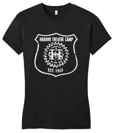 Harand Theatre Camp - Full Chest White Shield Logo Girly Black Blank with Depth