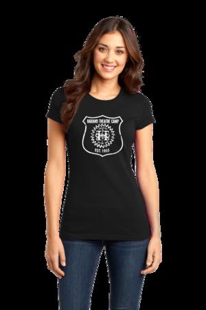 Harand Theatre Camp - Full Chest White Shield Logo Girly Black Stock Model Front 1