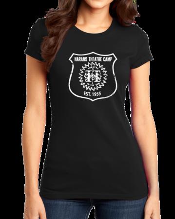 Harand Theatre Camp - Full Chest White Shield Logo Girly Black Stock Model Front 1 Thumb