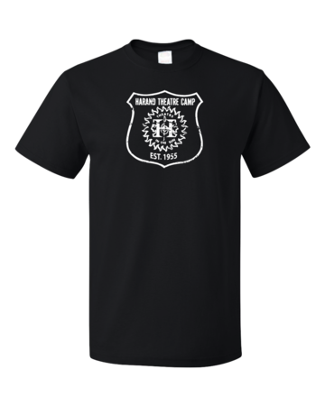 Harand Theatre Camp - Full Chest White Shield Logo Unisex Black Blank with Depth