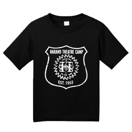 Harand Theatre Camp - Full Chest White Shield Logo Youth Black Blank with Depth