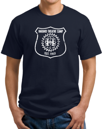 Harand Theatre Camp - Full Chest White Shield Logo Unisex Navy Stock Model Front 1 Thumb